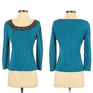 Ruby Rd. Sweater Jeweled Scoop Neck Turquoise Sz S